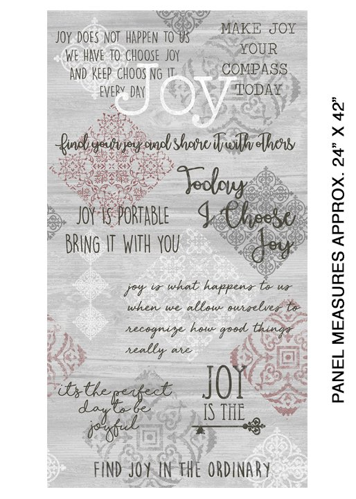 Words to Live By Joy Panel Grey/Multi