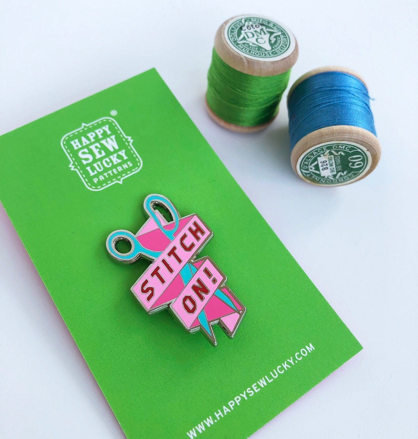 STITCH ON Banner Enamel Pin by Happy Sew Lucky