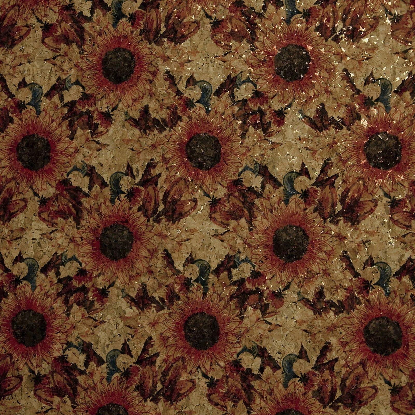 Cork Fabric 18x15 Red Sunflower