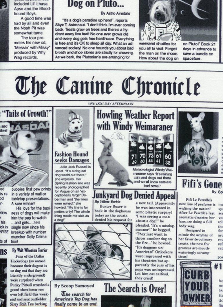 Dog Breeds Newspaper Print