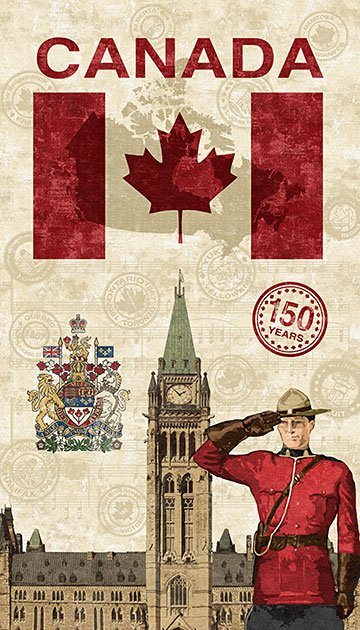 PANEL- Mountie Canadian Sesquicentennial 21358-11