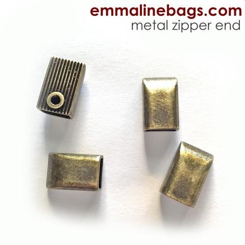 Zipper Ends or Cord Ends: in Antique Brass - 5 Pack