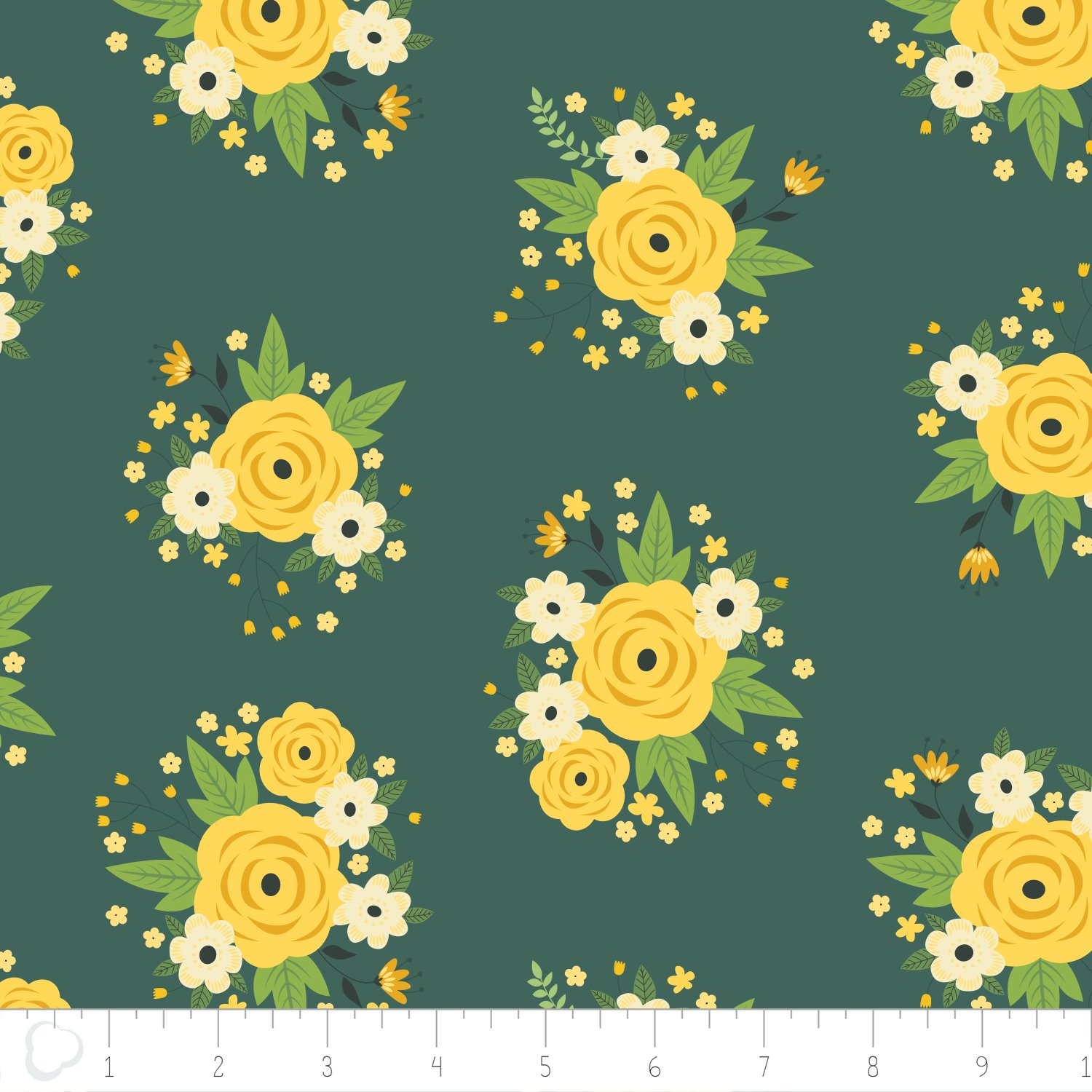Bright Side Floral Pine Green