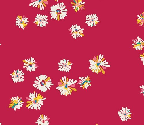 Skinny Bolt Sale- 1.3m of Sunkissed Hazy Daisies Scarlet by AGF