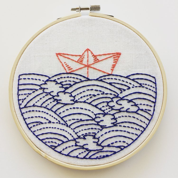 Embroidery Kit hope floats my boat