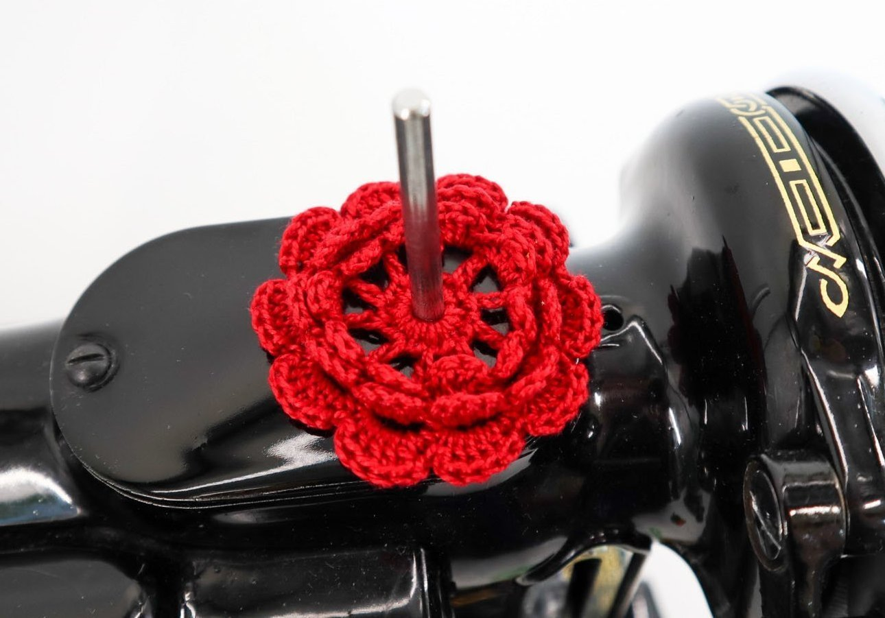 Spool Pin Doily- Classic Red