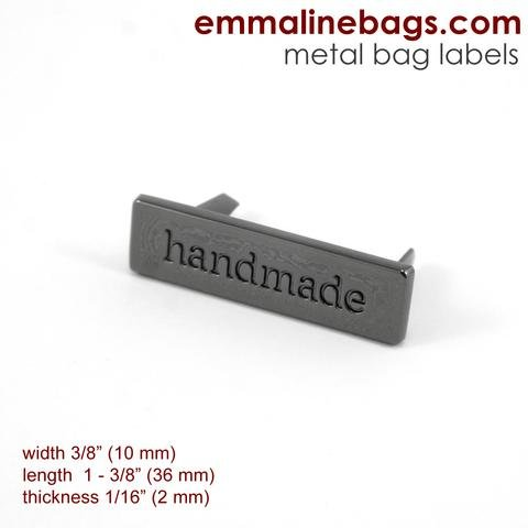 Metal Bag Label: handmade Gunmetal Finish