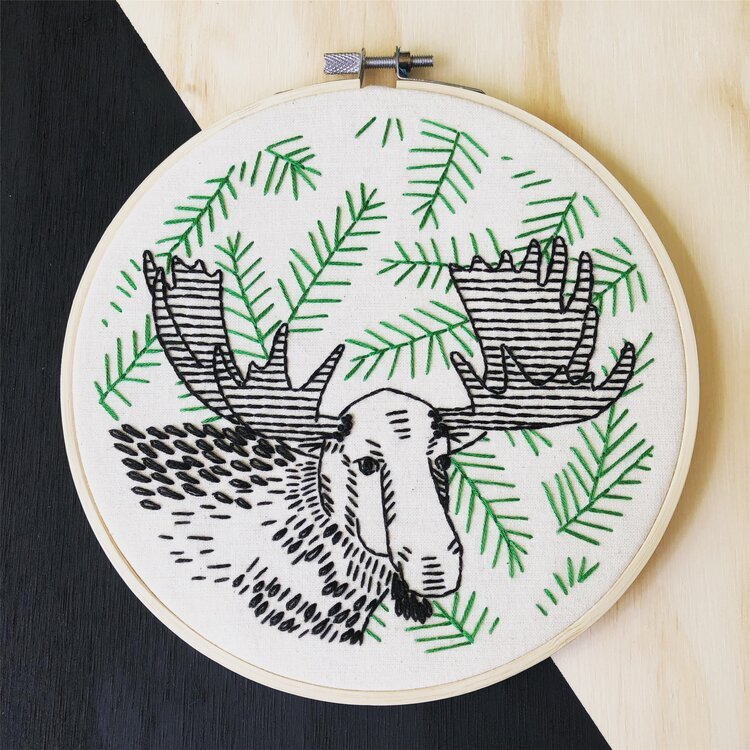 Embroidery Kit moose on the loose