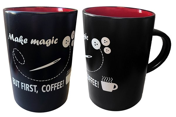 Make Magic But First, Coffee Ceramic Mug in Midnight with Red Interior