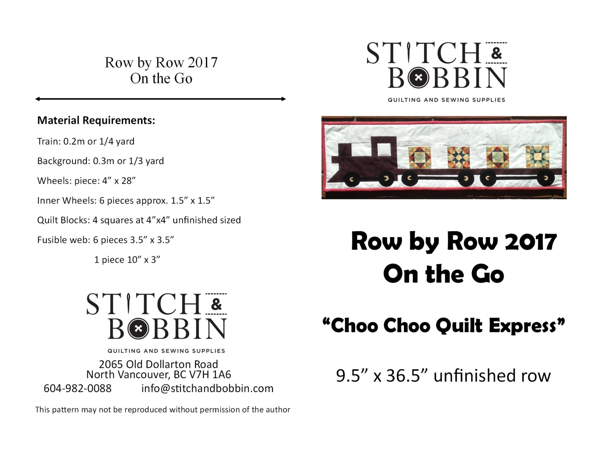 Row by Row 2017 Pattern- PRINTED COPY