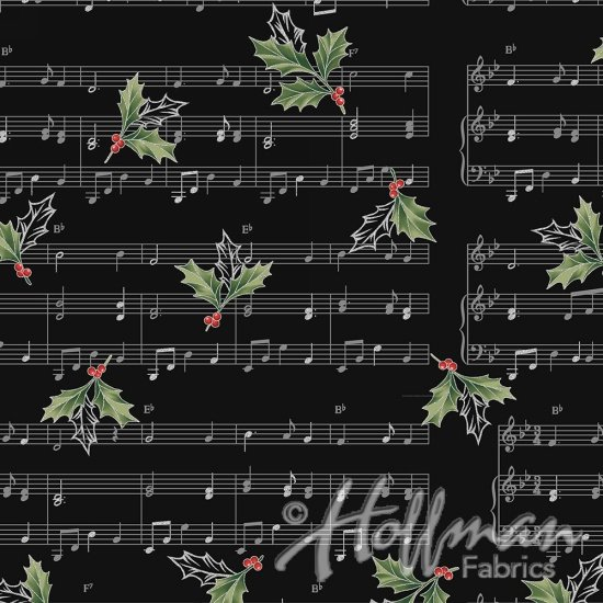 Cardinal Carols by Hoffman Onyx/Silver- Holly Notes
