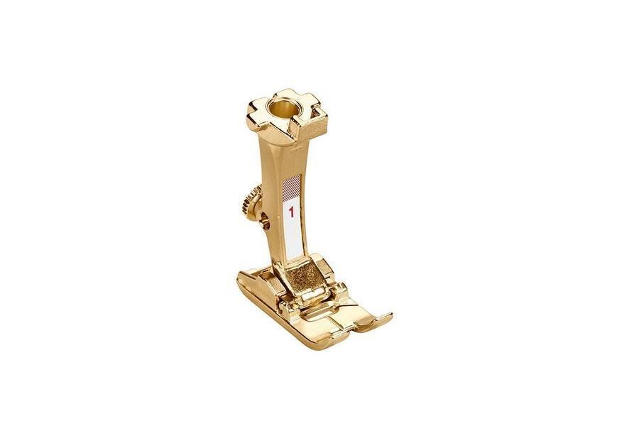 Bernina #1 Golden Reverse Pattern Foot in a Collector's Tin