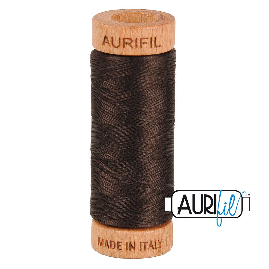 Aurifil Cotton Mako Thread 80wt 280m BMK80 1130 Dark Brown