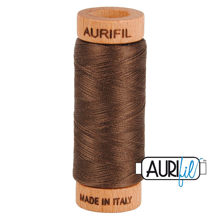 Aurifil Cotton Mako Thread 80wt 280m BMK80 1140 Medium Brown