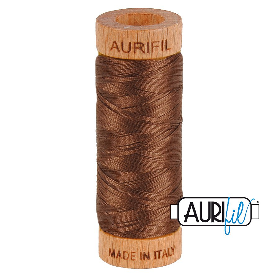Aurifil Cotton Mako Thread 80wt 280m BMK80 1285 Medium Brown