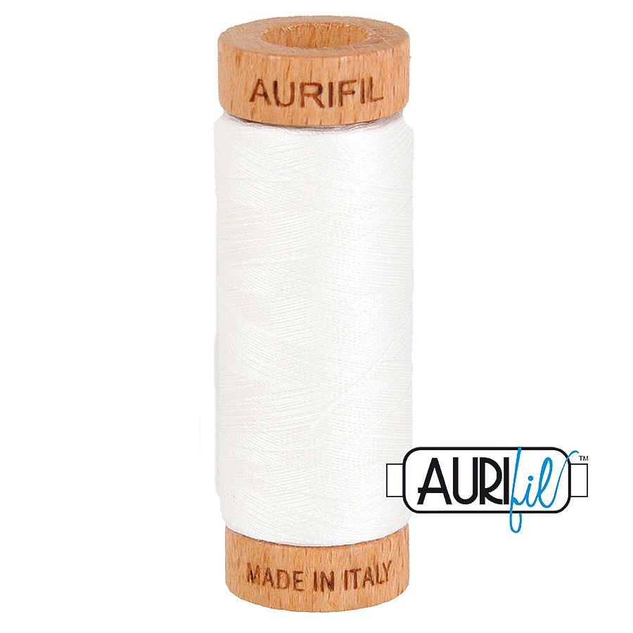 Aurifil Cotton Mako Thread 80wt 280m BMK80 2021 White