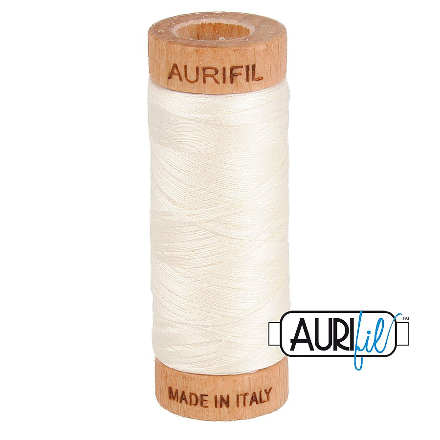 Aurifil Cotton Mako Thread 80wt 280m BMK80 2026 Cream White