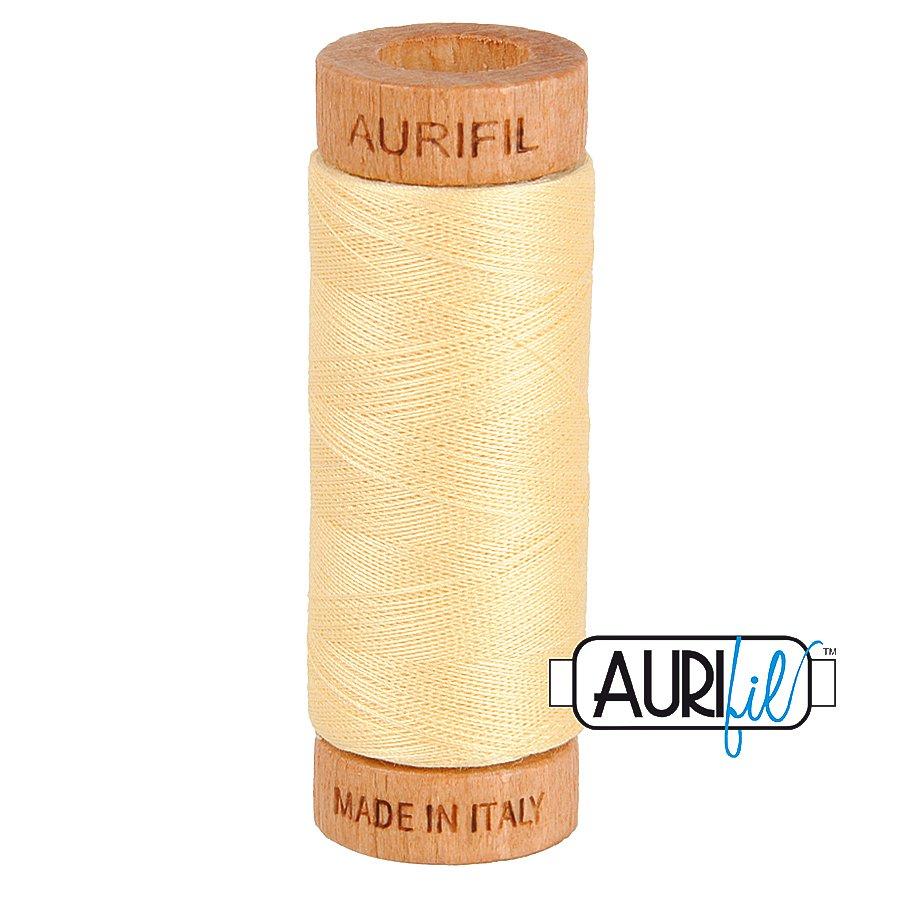 Aurifil Cotton Mako Thread 80wt 280m BMK80 2105 Light Yellow Gold