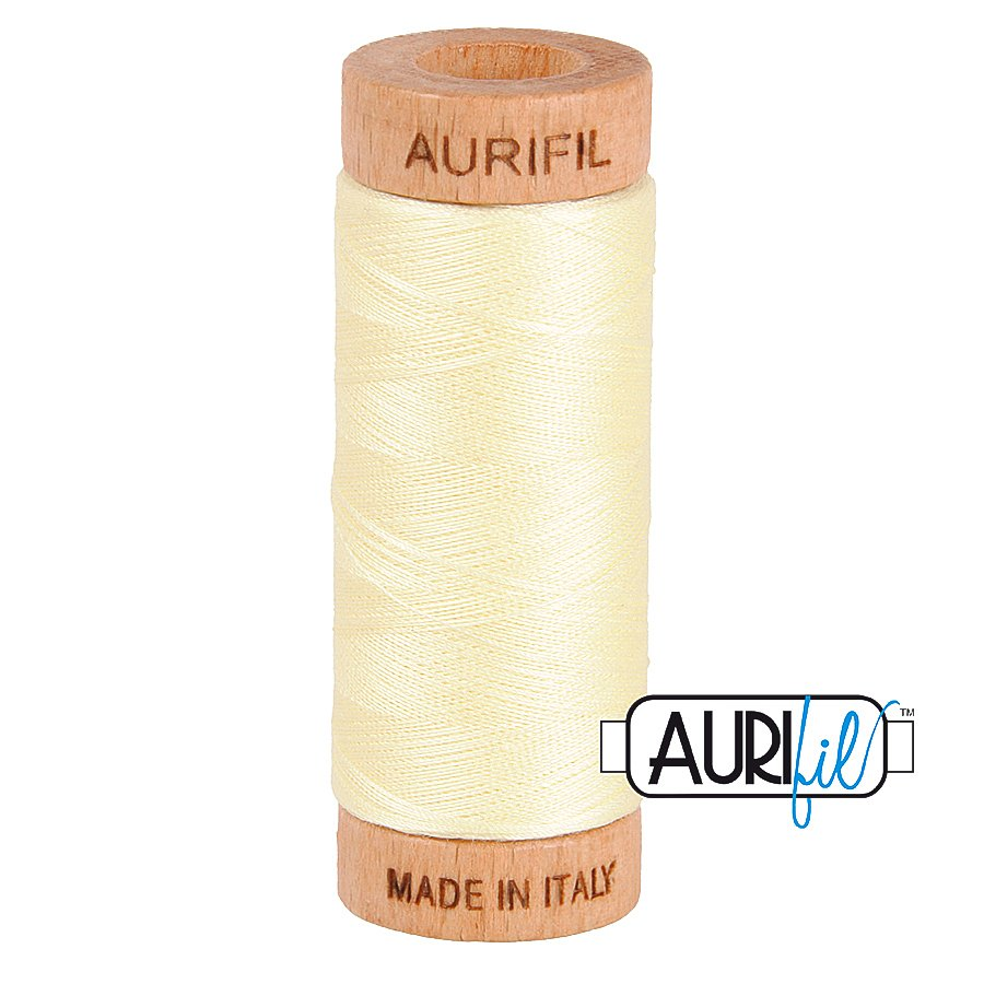 Aurifil Cotton Mako Thread 80wt 280m BMK80 2110 Light Yellow White