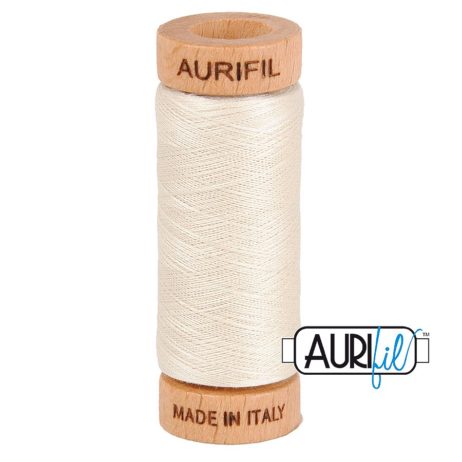 Aurifil Cotton Mako Thread 80wt 280m BMK80 2309 White Cream