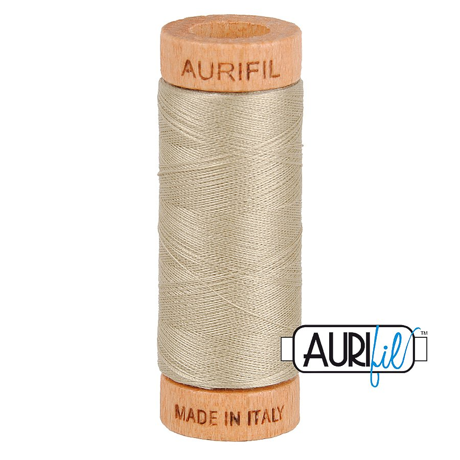 Aurifil Cotton Mako Thread 80wt 280m BMK80 2324 Light Gray Tan