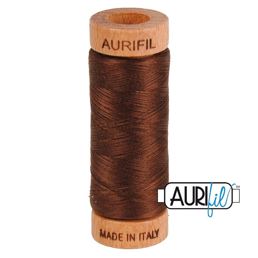 Aurifil Cotton Mako Thread 80wt 280m BMK80 2360 Dark Brown