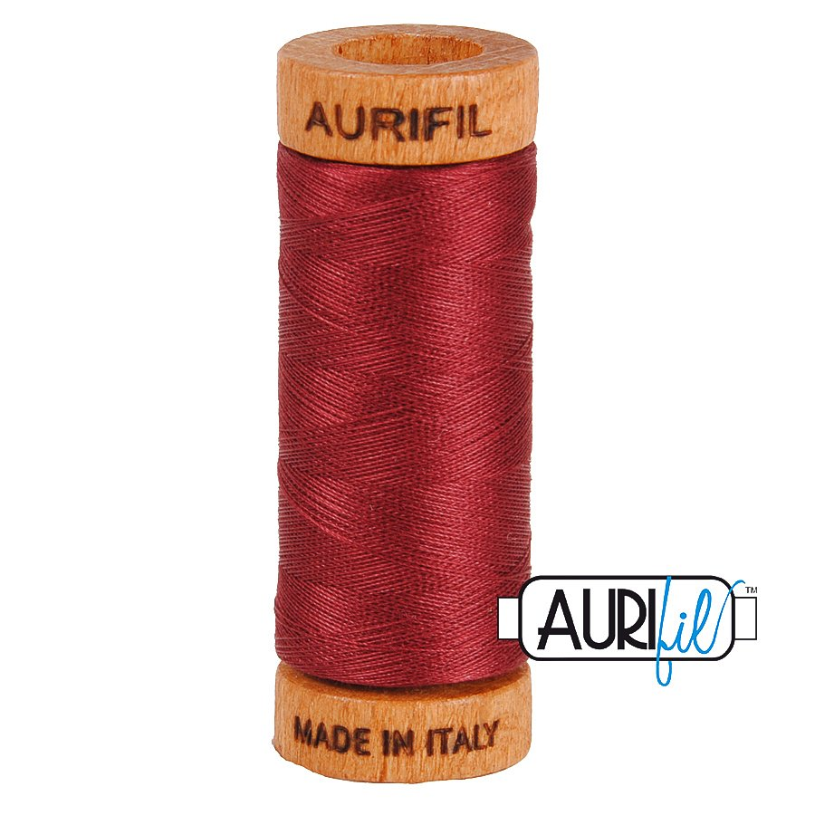 Aurifil Cotton Mako Thread 80wt 280m BMK80 2460 Cranberry Red
