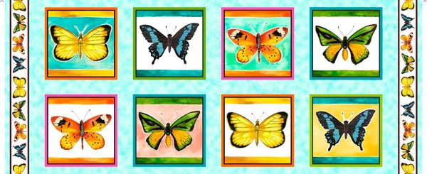 FLY FREE BUTTERFLY PICTURE PATCHES PANEL Style # : 27083 -X  Color : MULTI