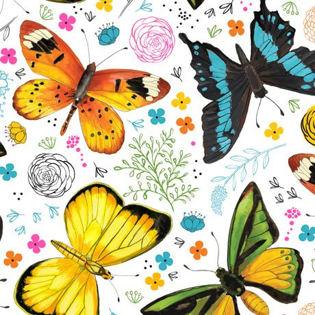 FLY FREE TOSSED BUTTERFLIES Style # : 27084 -Z  Color : WHITE