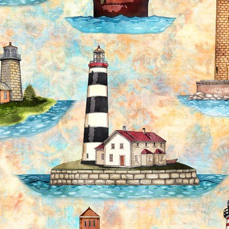 SMOOTH SAILING LIGHTHOUSES Style # : 27160 -S  Color : BUTTERSCOTCH