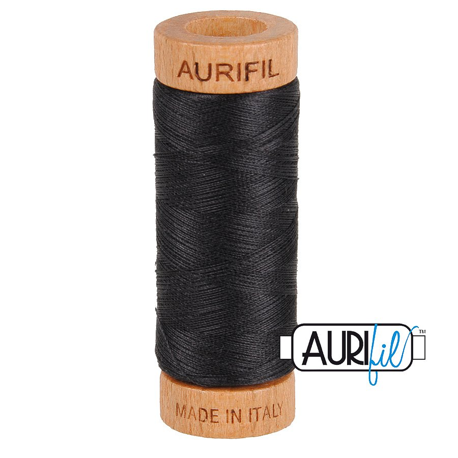 Aurifil Cotton Mako Thread 80wt 280m BMK80 4241 Black