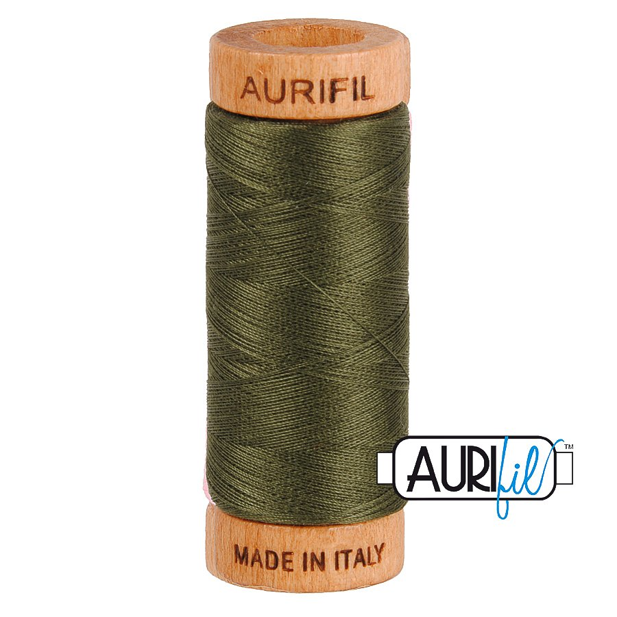 Aurifil Cotton Mako Thread 80wt 280m BMK80 5012 Olive Green