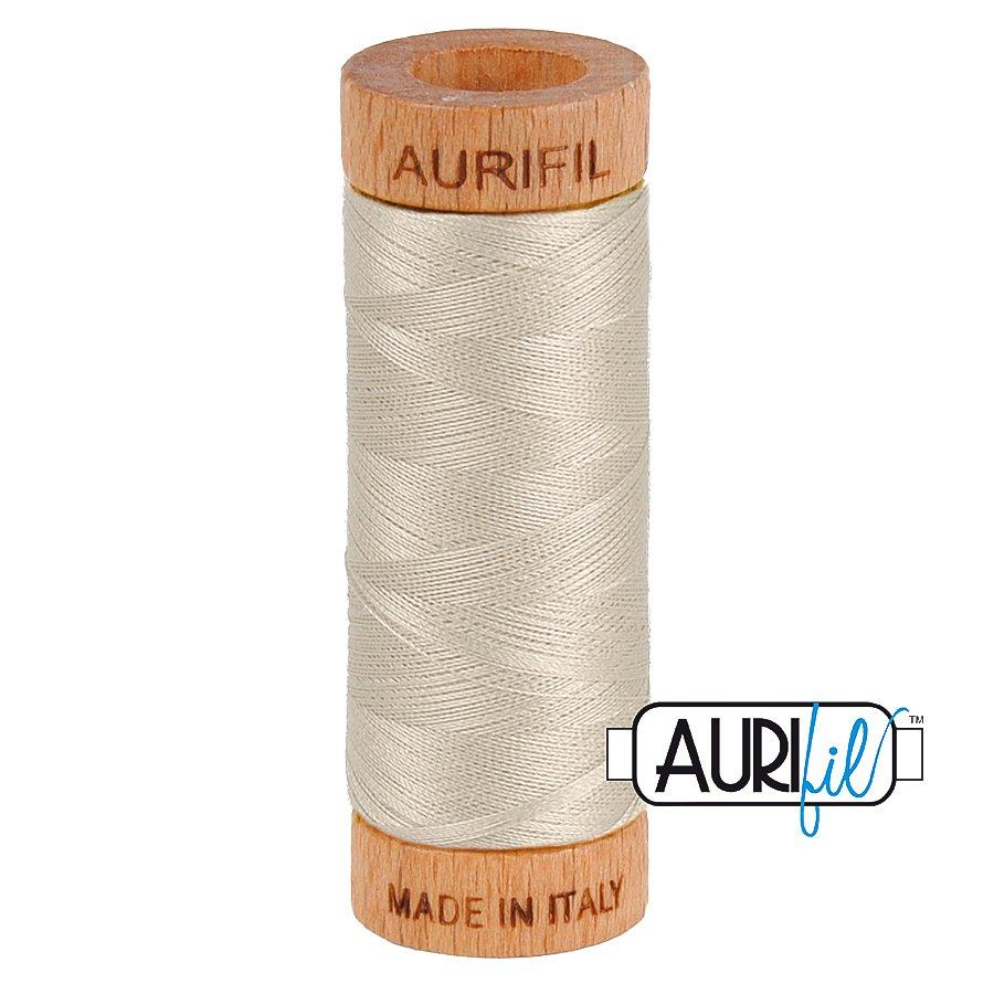 Aurifil Cotton Mako Thread 80wt 280m BMK80 6725 Light Gray White