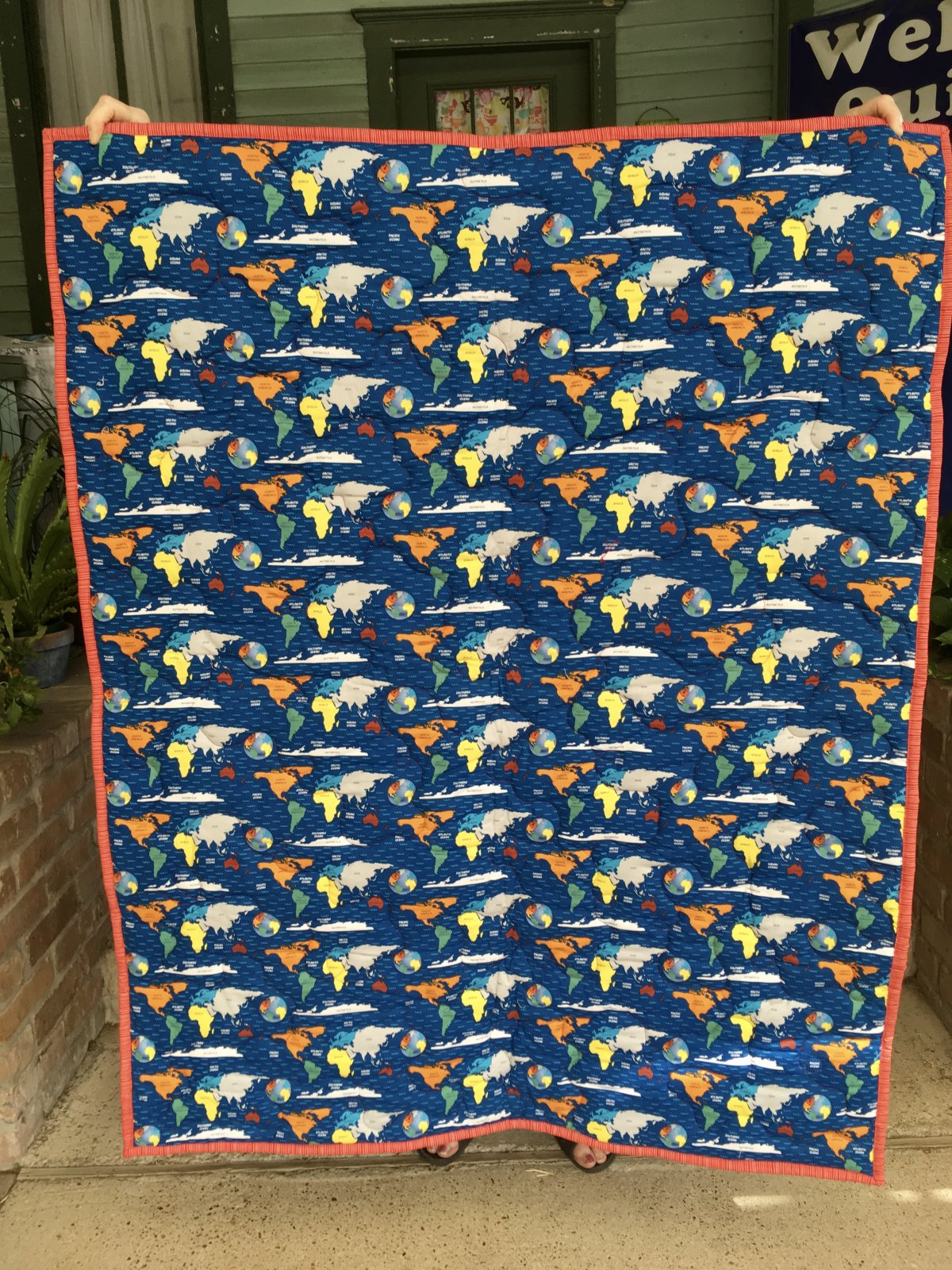 Baby Quilt with Maps 40x51