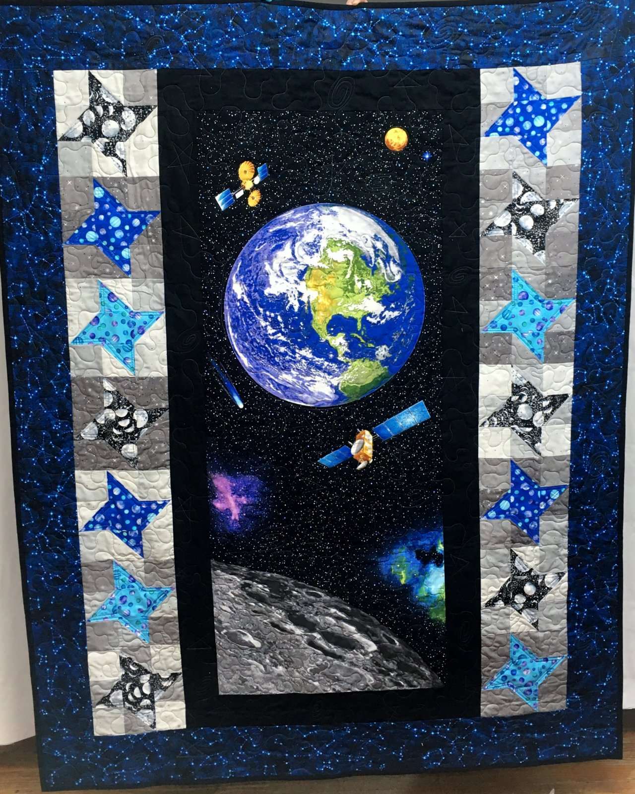 Space Quilt Kit with Blue Constellation Border 60 x 75