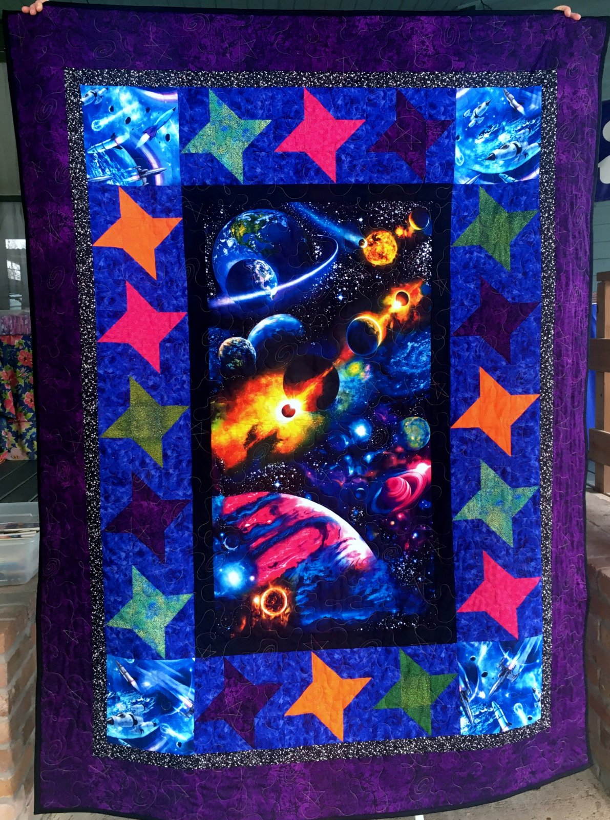 Space Quilt Kit with Purple Border 59 x 77