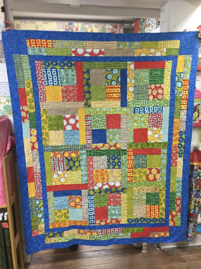 Butter Charm and Jelly Geometric Quilt 51 x 64
