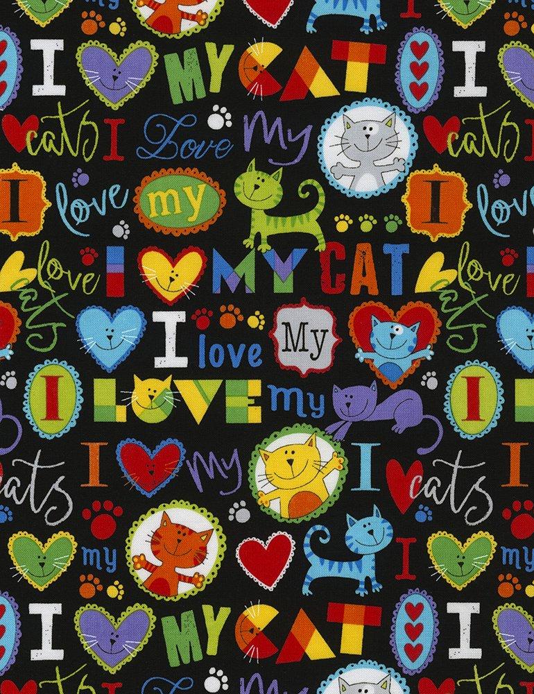 Timeless Treasures I Love My Cat Gail-C5715-Brite