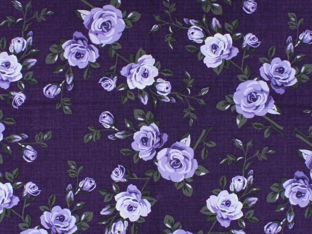 Elegant Blooms by Sue Penn / Dark Purple / 100% Cotton / 45 wide CD-11001-006