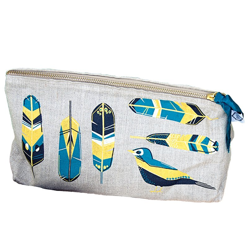 Cosmetic Bag Linen Large Chirp 7001538 Now Designs