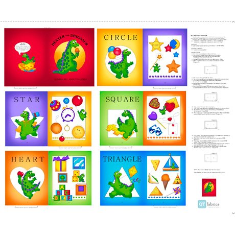 SEW & GO V   DEXTER THE DINOS SEW & GO IX   DEXTER THE DINOSAUR LEARNS SHAPES BOOK PANEL  Style # : 27279 -X AUR NUMBERS BOOK PANEL  Style # : 26763 -X  - copy