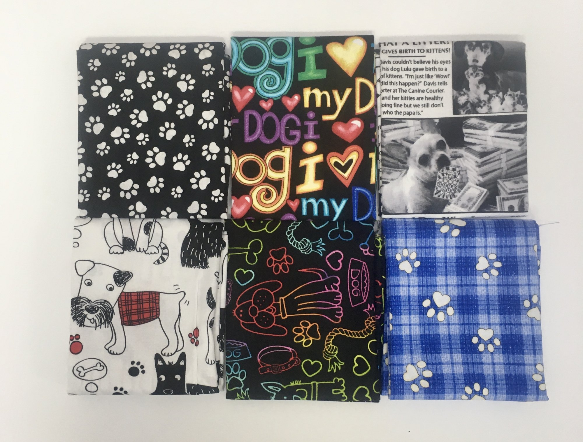 Assorted 6 pc Dog Theme Fat Quarter Bundle