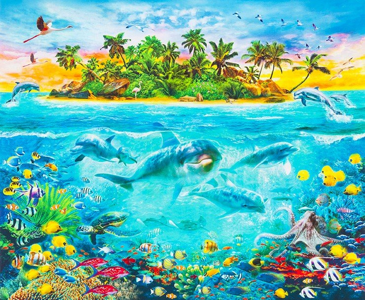 PANEL Dolphins Ocean Print AYK-17039-59 OCEAN by Jan Patrik Krasny from Picture This