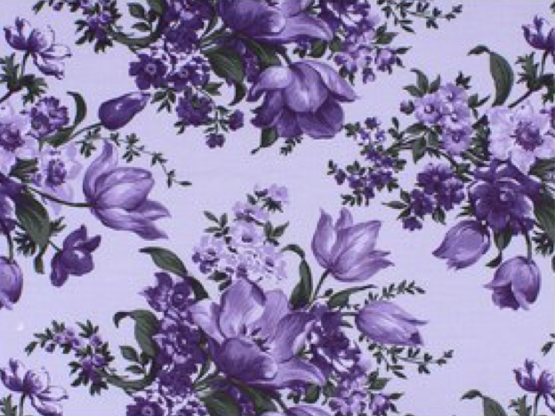 Elegant Blooms by Sue Penn / Large Purple Flowers / 100% Cotton / 45 wide CD-11000-007