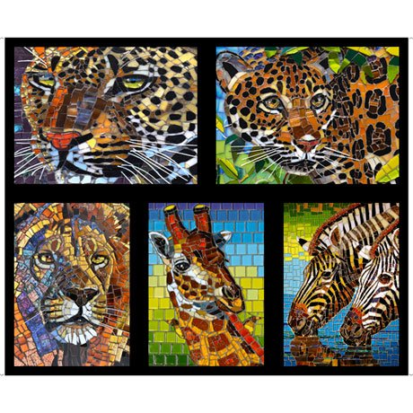 GLASS MENAGERIE COLORS:   Click to see Extra Large image! GLASS MENAGERIE   MOSAIC ANIMALS PICTURE PATCHES  Style # : 28033 -J  Color : BLACK