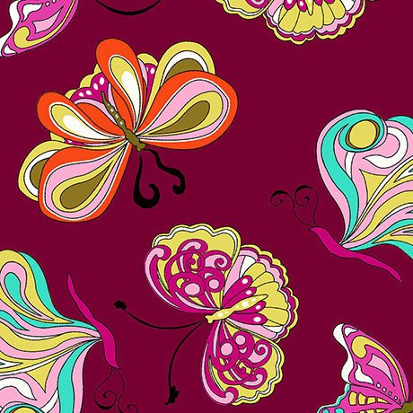 Pucci Butterflies in Cranberry - I&A Paloma 1649-26101-M