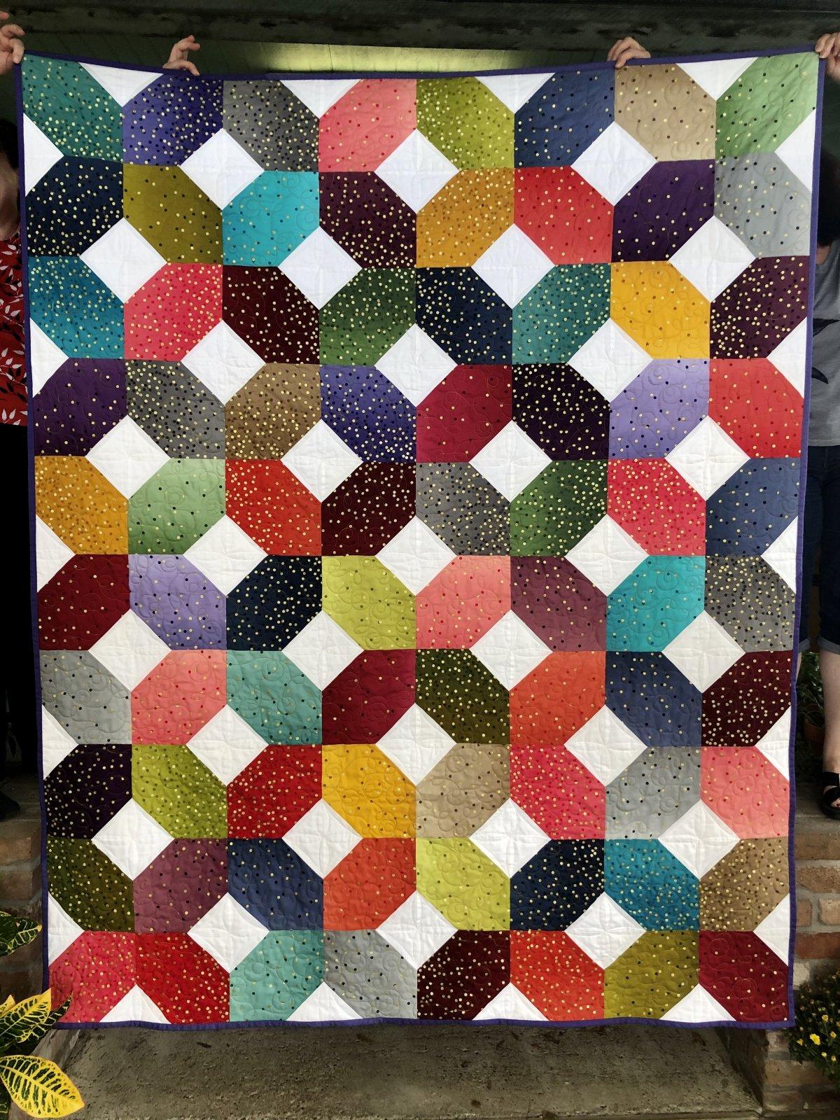 Asagail Quilt KIT--Confetti Ombre Metallic Dots