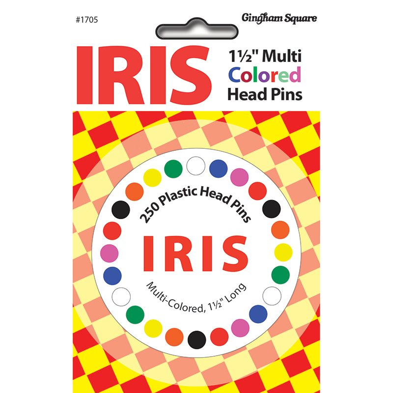 Iris Multi Color Head Pin 250ct 1705 Gingham Square
