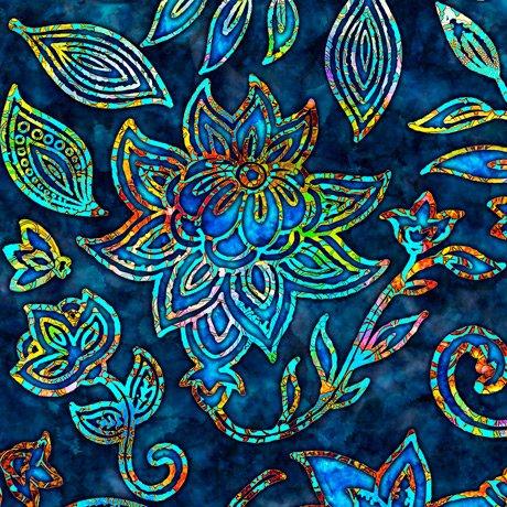 KASHMIR LARGE FLORAL Style # : 27398 -N  Color : NAVY