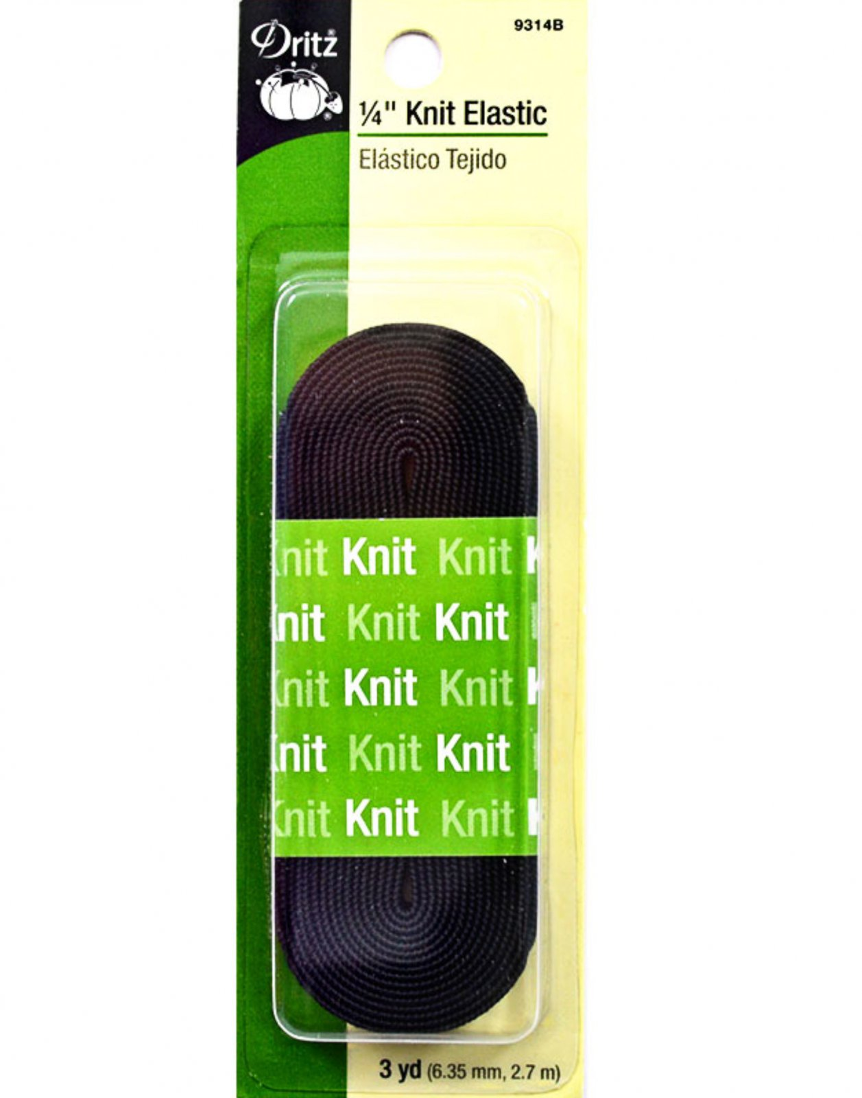 Black 1/4 Knit Elastic for Medical Masks